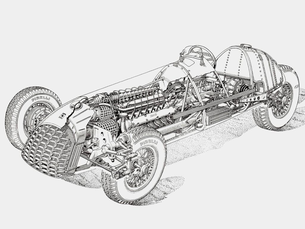 Компоновка первого болида Ferrari для «Формулы-1»: двигатель V12 к тому моменту получил приводные нагнетатели (видны в передней части и на верхе мотора)