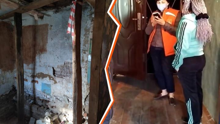 Жильцы аварийной двухэтажки на улице Игарской боятся обрушения