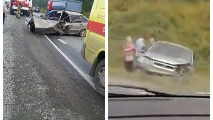 «Машины раскидало в стороны»: под Новосибирском столкнулись ВАЗ-2114 и «Хонда»