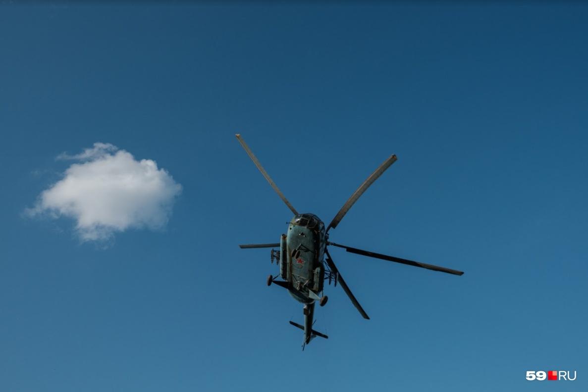 В съемках задействован вертолет
