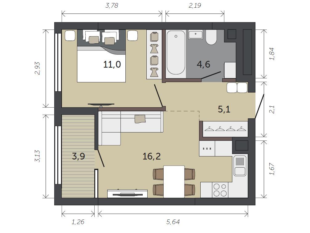 В однокомнатной с кухней-гостиной можно организовать приватную спальню