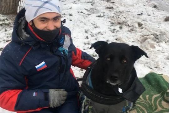 Неравнодушная девушка узнала историю мужчины, который просит милостыню в центре Красноярска с собакой