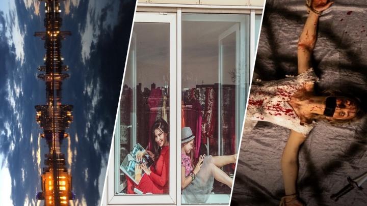 Девушки в окнах и летучая мышь над Екатеринбургом: выбираем лучшее фото апреля