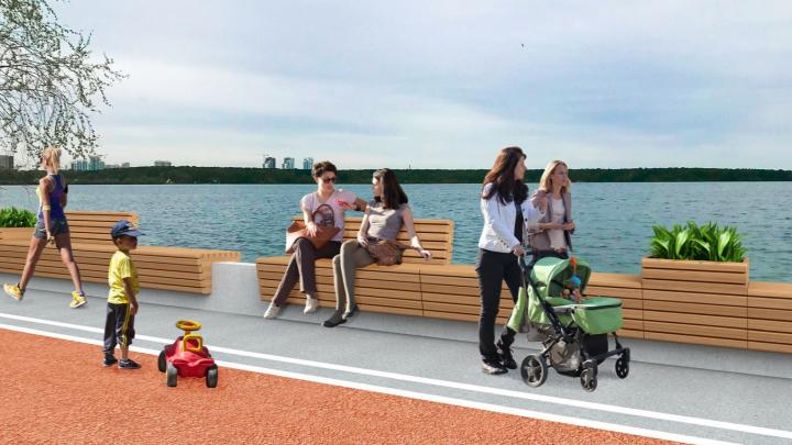Архитекторы показали, как будет выглядеть самая длинная на Урале скамейка