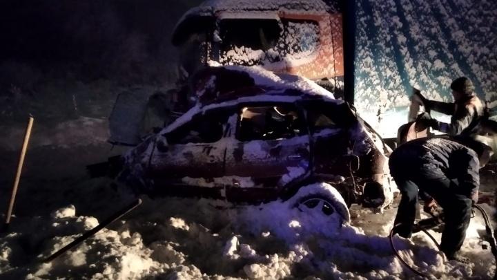 Под Новосибирском два человека погибли в ДТП — Nissan выехал на встречку и попал под фуру