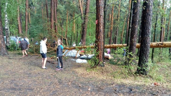 Ураган с градом повалил деревья на берегу Тургояка. Одну женщину увезли в больницу