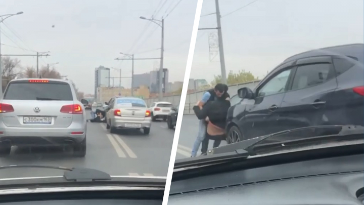 В Самаре водители устроили драку прямо посреди Московского шоссе