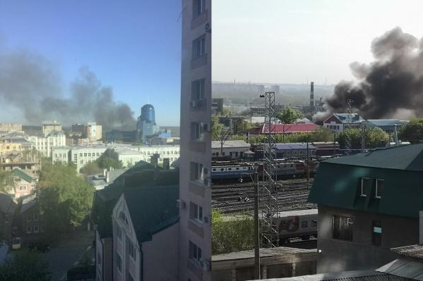 Дым от пожара было видно из разных точек города