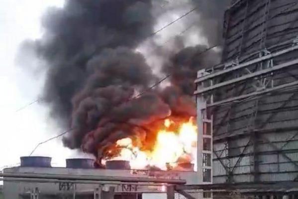 Пожар на ТЭЦ Ачинского глиноземного комбината, первые кадры с места