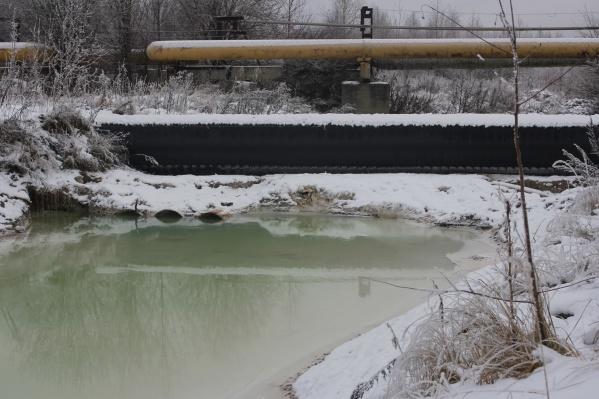 Фото сделано экологами организации «Зеленый патруль»: по их информации, 17 ноября в Березниках был зафиксирован сброс жидких отходов производства из-под дамбы шламонакопителя № 2 «Белое море»