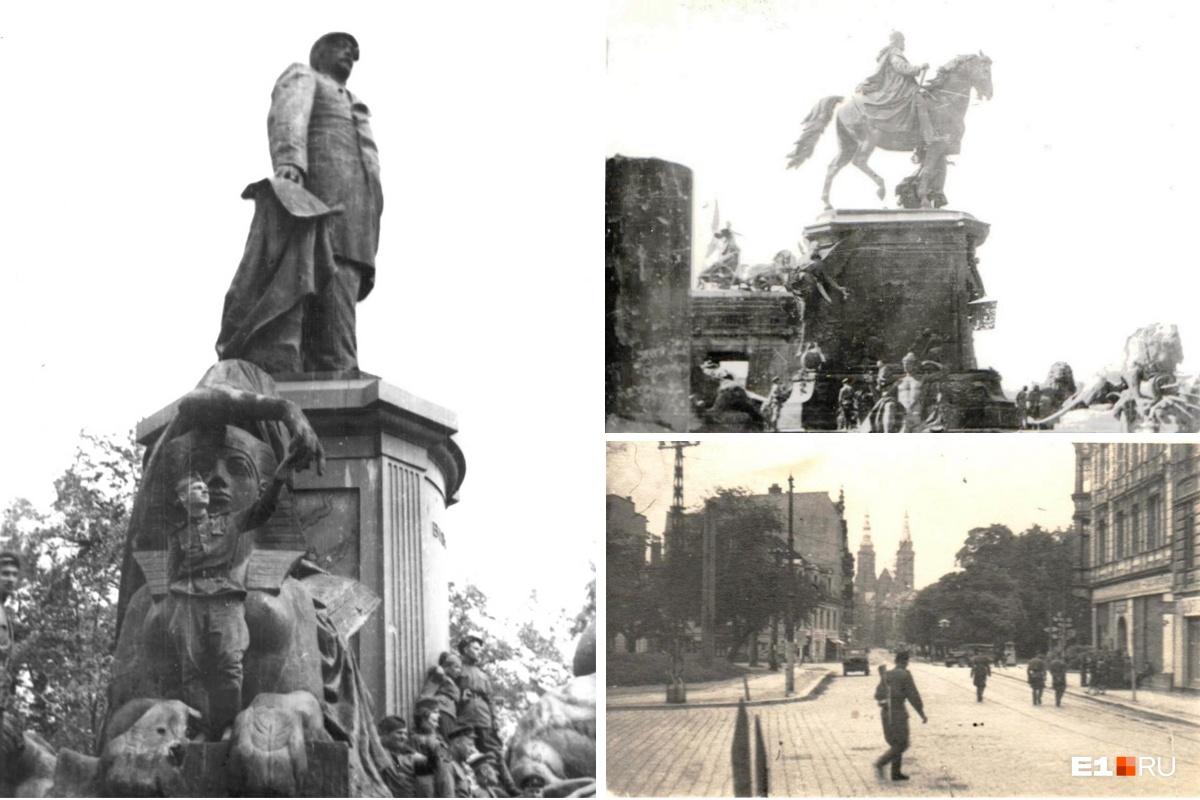 Слева — Борис Ваулин возле памятника Отто фон Бисмарку в Берлине в мае 1945 года. Справа сверху — крыша Рейхстага, снизу — Лигниц (Польша), 1945 год