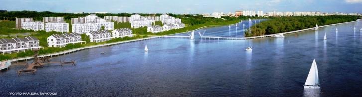 Разводной пешеходный мост ведет к жилому комплексу