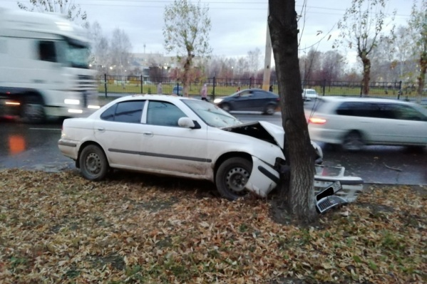 Водитель Nissan не справился с управлением и допустил наезд на дерево