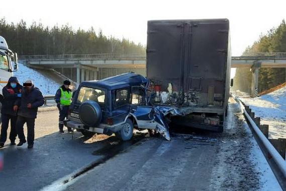 Водитель въехал в стоявшийиз-за поломки у обочины грузовик Freightliner