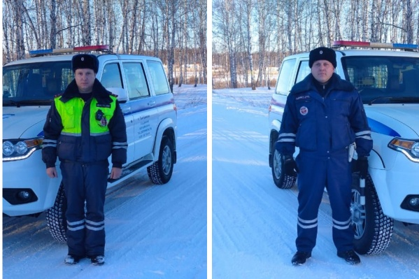 Инспекторы Евгений Ковалев и Денис Михейчик помогли мужчине вытащить машину из сугроба