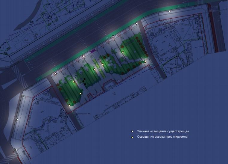 В сквере на улице Челюскинцев предлагают изменить схему освещения, а также установить новые скамейки и урны