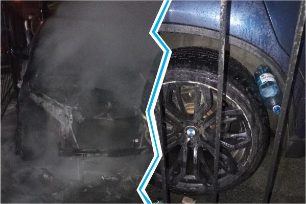 УBMW полностью выгорел моторный отсек, но задняя часть осталась целой