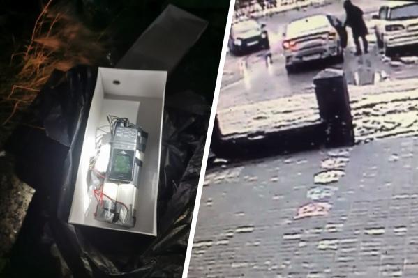 Предприниматель получил муляж бомбы с помощью сервиса доставки. Момент ее передачи подозреваемым попал на видео