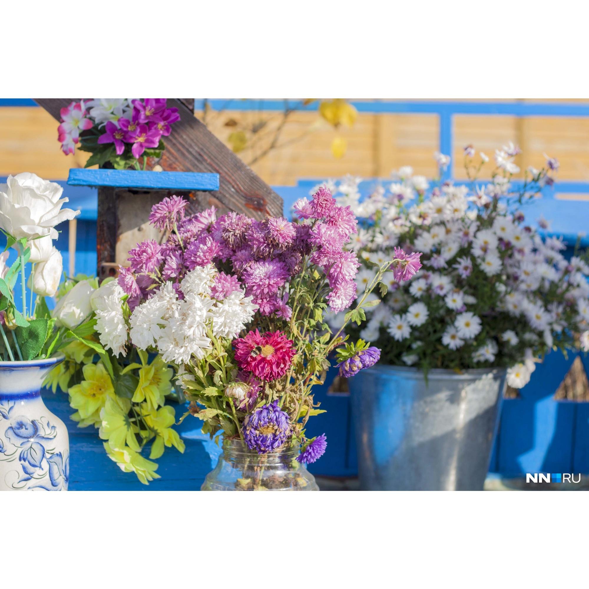 На месте — свежие цветы