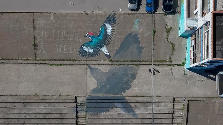На Гребном канале появился красочный рисунок, созданный по местной легенде