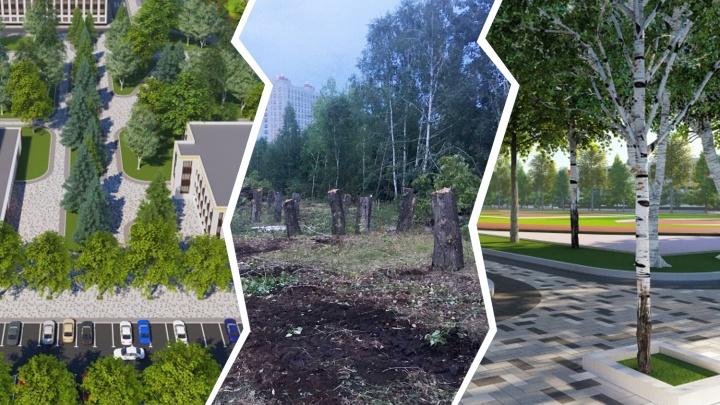 На месте будущего хоккейного центра в Челябинске начали вырубать деревья