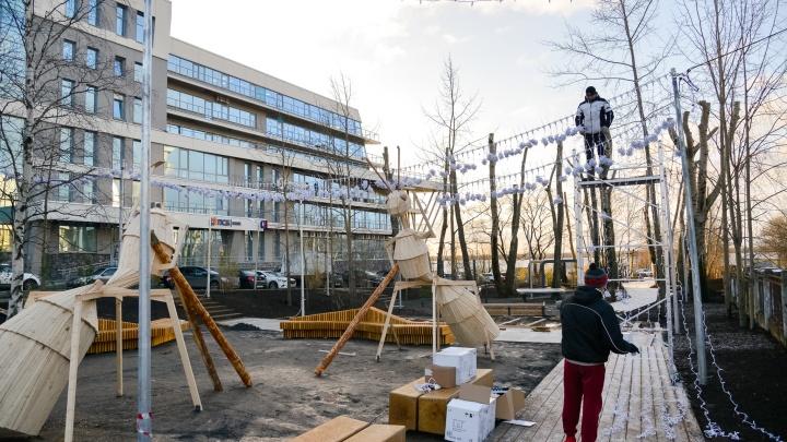 Появились муравьи-гиганты и иллюминация: как преображается Молодежный сквер в Архангельске