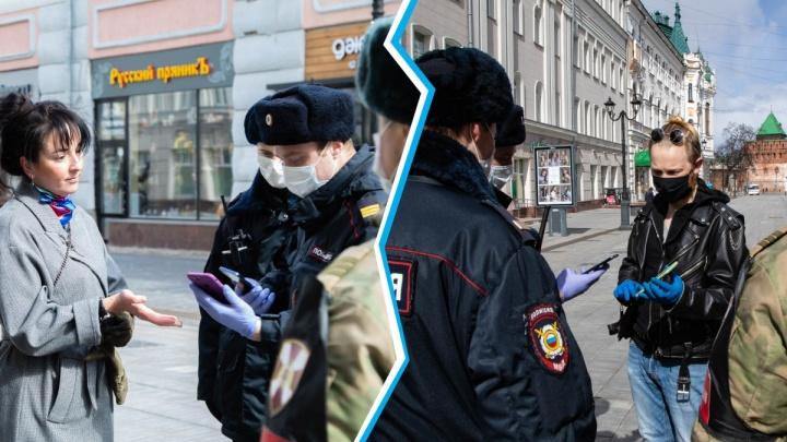 Право на выход: военные и сотрудники Росгвардии проверяют на улицах у нижегородцев QR-коды