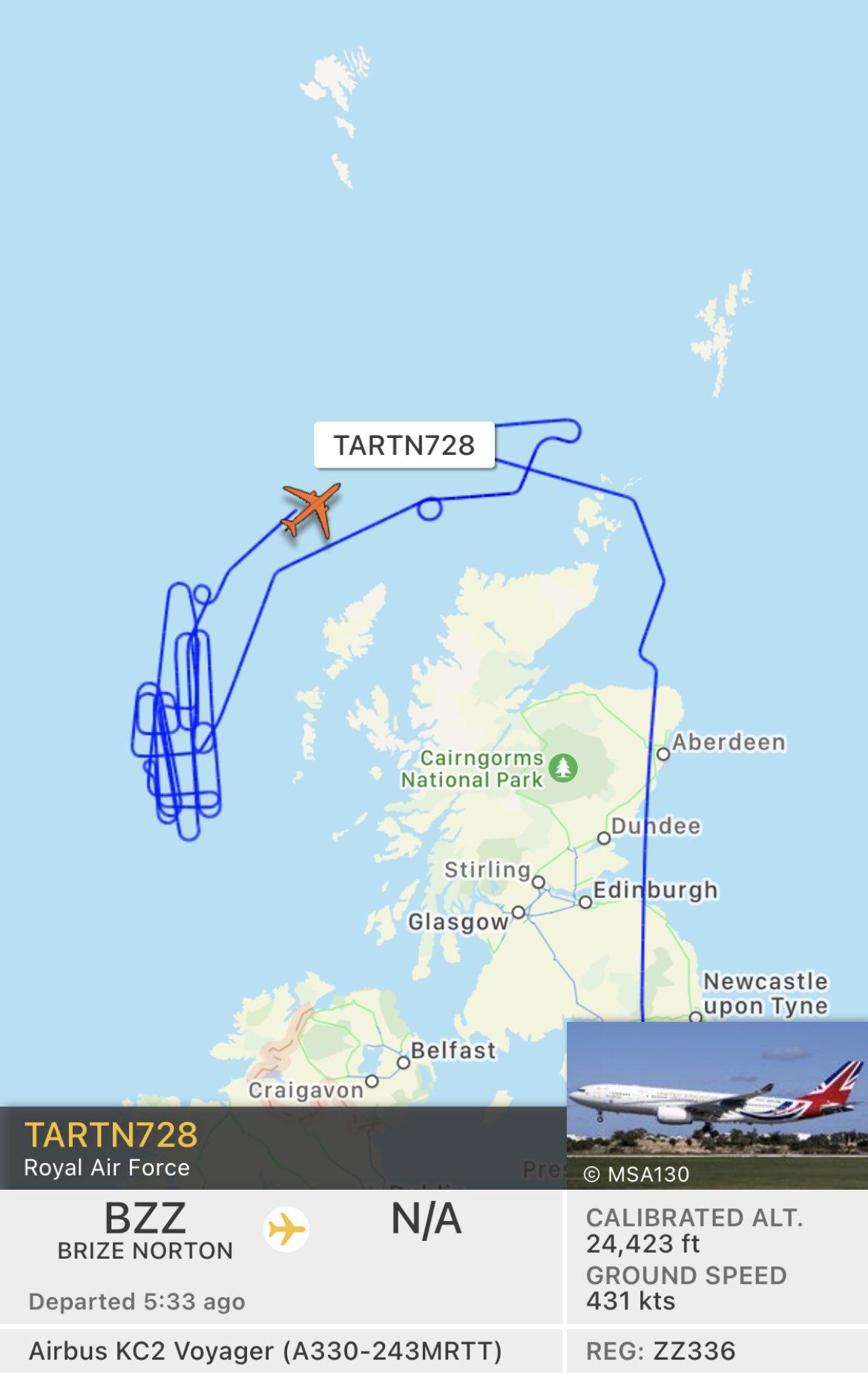 Траектория полета топливозаправщика Voyager во время перехвата российских Ту-142 28 ноября 2020 года