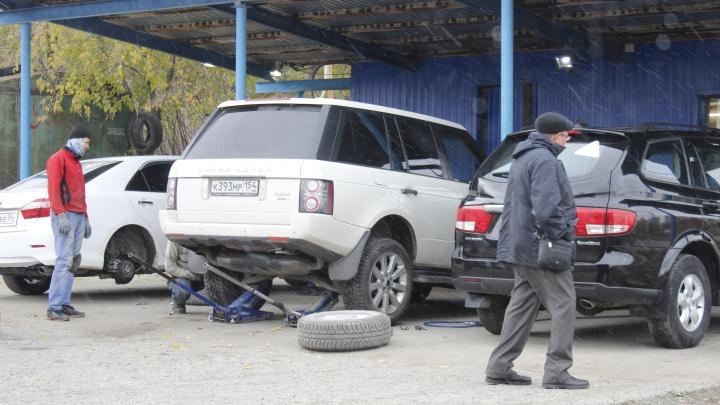 Смотрите, что творится на шиномонтажках Новосибирска (водители набросились на китайскую резину)