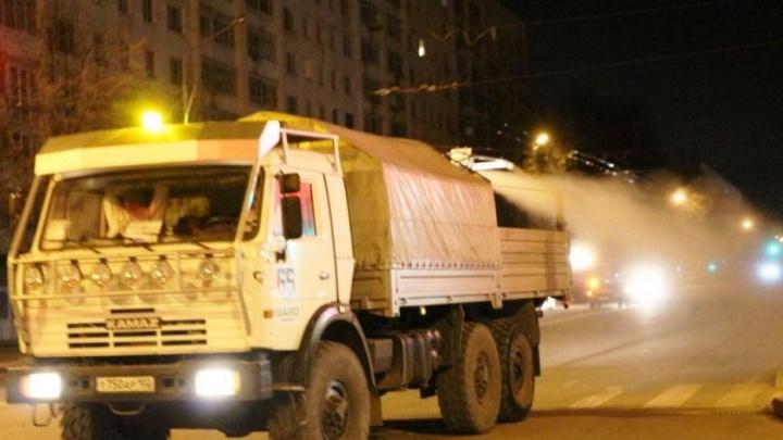 38 улиц Уфы продезинфицировали от коронавируса минувшей ночью