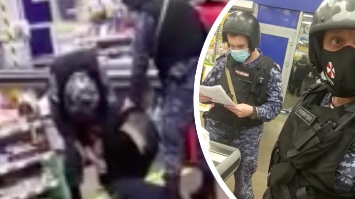 Росгвардейцы жестко скрутили красноярца в «Ленте» за отказ натянуть маску на лицо