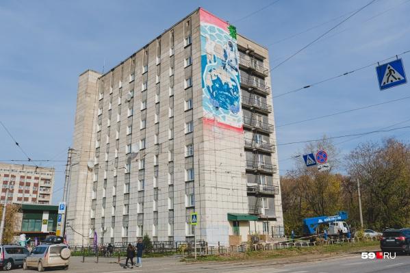 Рисунок появился на стене общежития на Попова, 58