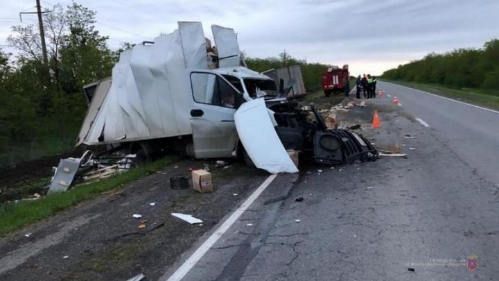 Настоящее месиво из машин: в Волгоградской области в лобовом столкновении двух грузовиков погиб водитель