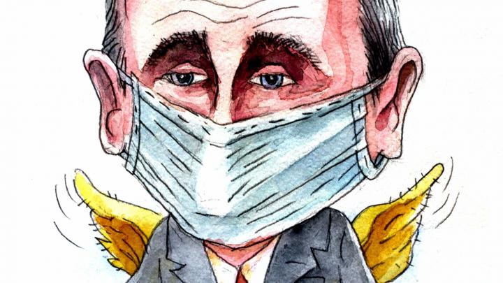 «Как ангел-хранитель». В Перми выпустили открытку с Путиным в маске и с крылышками