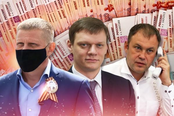 На фото слева направо: мэр Белово, мэр Ленинска-Кузнецкого, мэр Кемерово