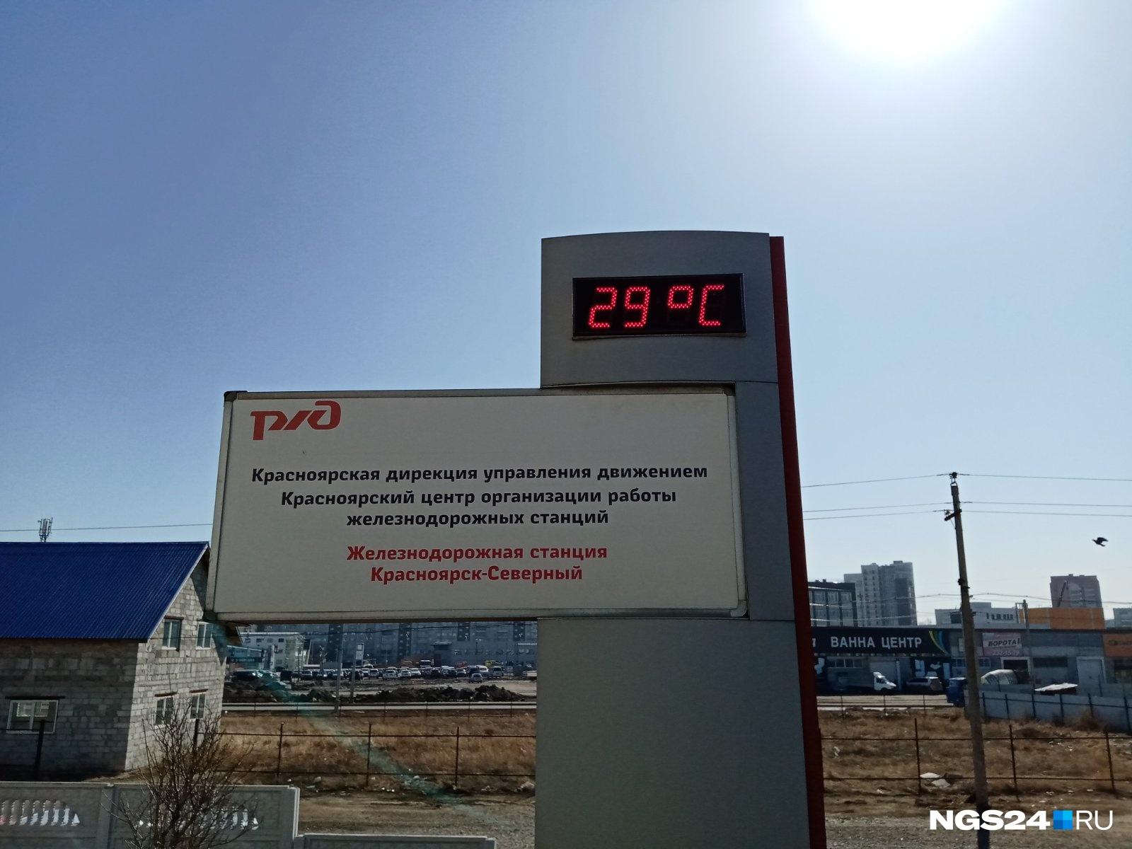 Градусник на станции в Северном тоже заболел от выглянувшего солнышка и паники вокруг коронавируса.