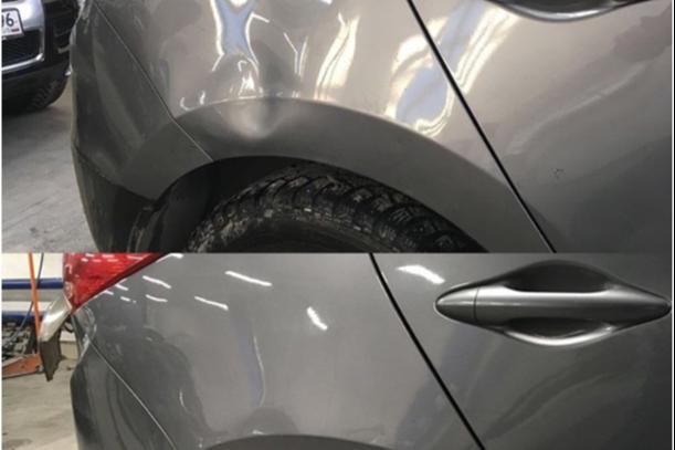 Восстановление геометрии заднего крыла на Hyundai IX35 без покраски (PDR-технология)