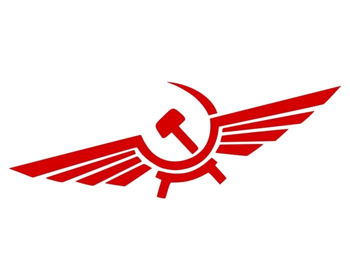 Принадлежность омскому аэрофлоту выдают крылышки. Логотип чем-то похож на эмблему клуба «Детройт Ред Уингс»