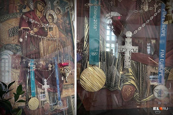 На иконе — медали Павла Дацюка. В том числе олимпийское золото