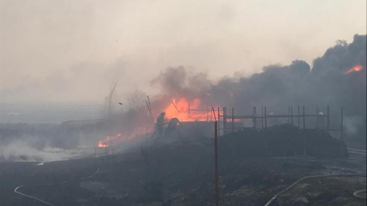 Тушат с вертолета: на левом берегу Дона несколько часов не могут справиться с огнем