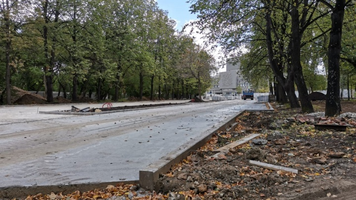Из-за пандемии и соседских протестов в парке за Дворцом молодежи затянули ремонт