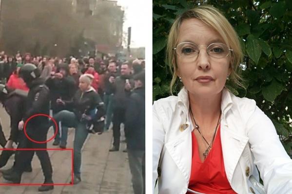 Женщина пнула полицейского во время митинга двухлетней давности