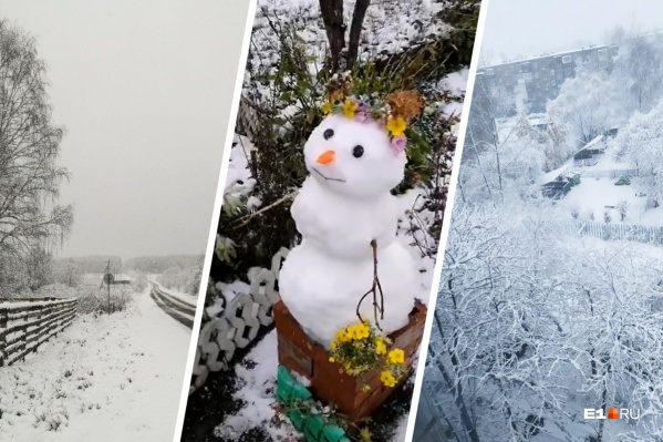 Некоторые свердловчане успели слепить снеговиков и поиграть в снежки, а некоторые запечатлели снегопад на фото