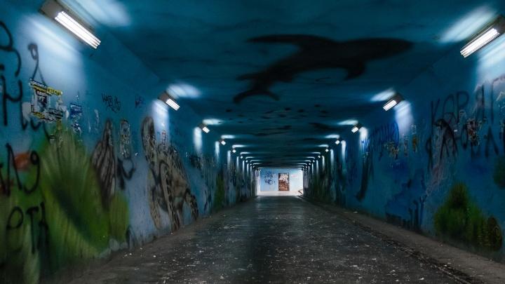 В Перми серой краской закрасили еще один подземный переход. Раньше там был изображен подводный мир