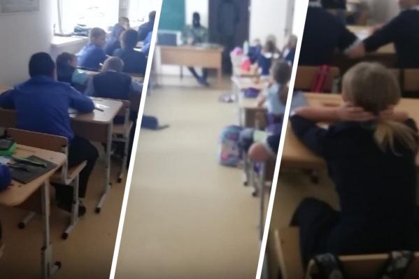 Детям сначала показали видеоролик про захват заложников, а потом устроили учебно-тренировочную игру, на которую пришел актер-террорист. Он сидел за столом в черной маске и с автоматом в руках