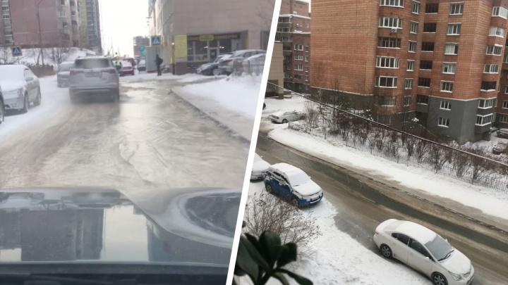 Пожарные свернули гидрант на Шевченковском жилмассиве — видео, на котором залило зимнюю улицу