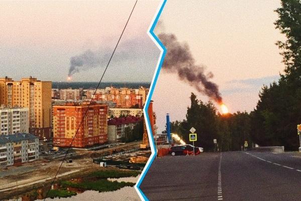 Густой черный дым было видно в Антипино и соседних районах нашего города