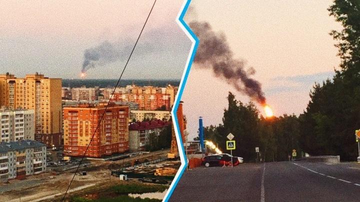 Из-за аномальной жары на Антипинском НПЗ произошел мощный выброс газа