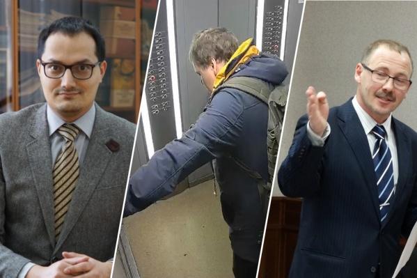 В центре коллажа — мужчина едет в лифте после погони за ним охранников из магазина