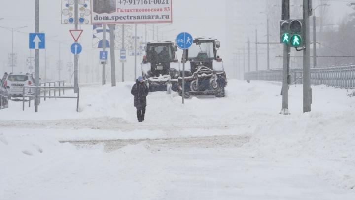 Синоптики посчитали, сколько в Самарской области выпало снега во время метели